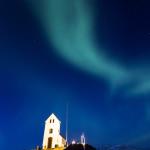Church below the auroras